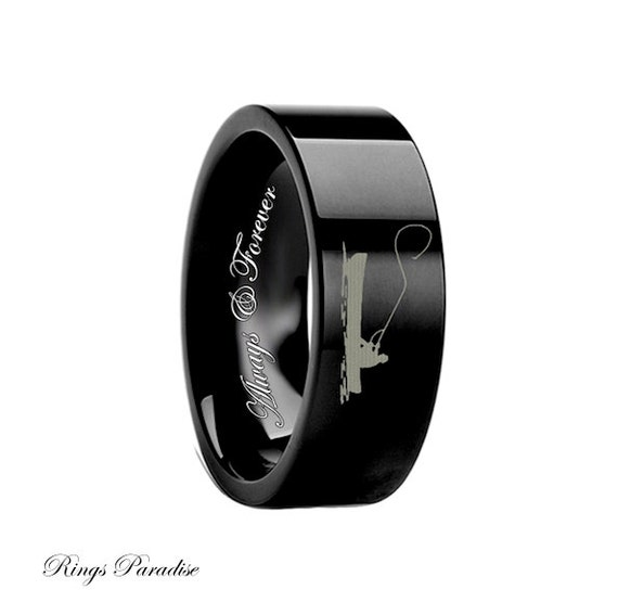 Items similar to mens black rings custom engraving for Mens fishing wedding bands