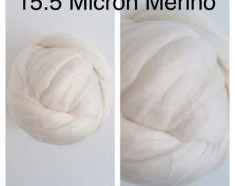 15.5 Micron Merino Top Undyed / Superfine Merino Roving / Ecru Merino Roving / Merino Felting / 1lb / 16oz