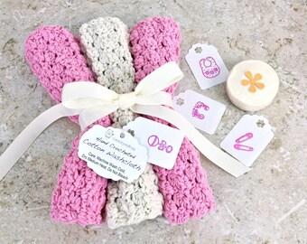 Bubblegum Pink Washcloth Set Baby Shower Gift Girl Baby Thick Washcloth Pink Ivory Cream Knit Wash Cloth Crochet Bath Set Pink Handmade Gift