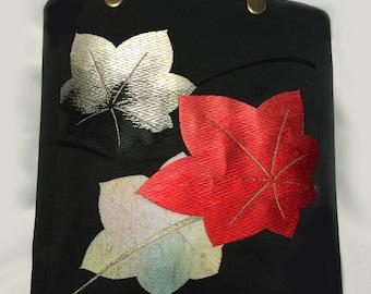 Handmade kimono Obi bag-Momiji-100 %Silk
