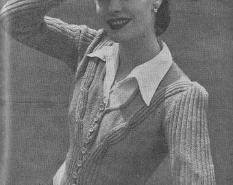 Vintage 1944 Knitting Pattern Ladies Cardigan - digital file