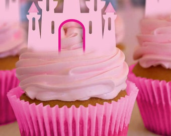 Princess Cupcake Toppers, Princess Castle, Disney Princess, Princess Birthday, Princess Party, Castle Cake Topper, Decoration