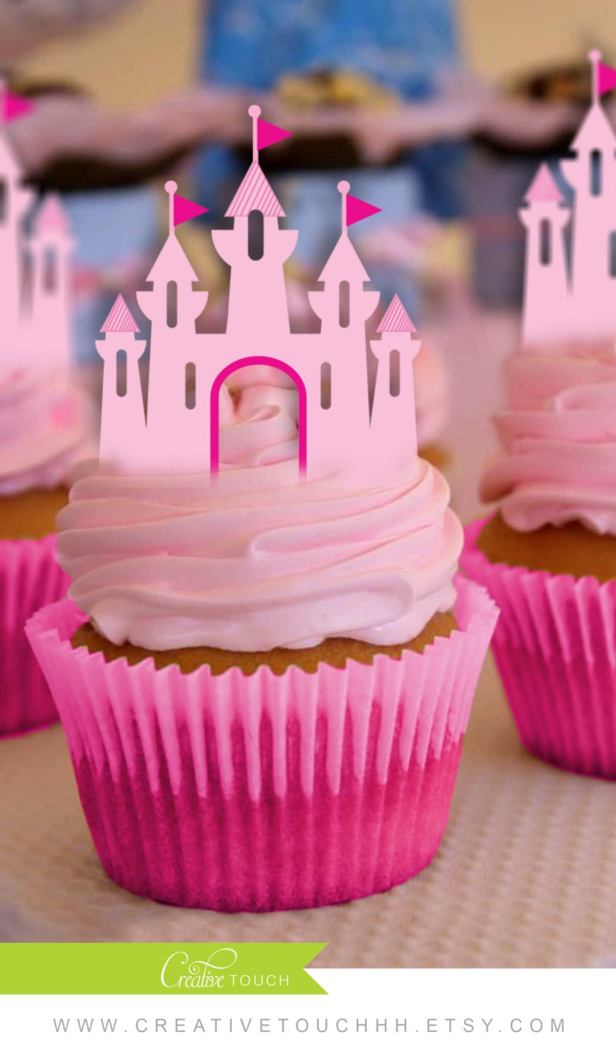 Princess Party Decoration Princess Cupcake Toppers Princess Castle Disney Princess