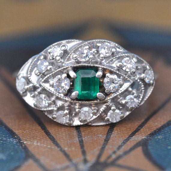 Emerald Engagement Ring Unique Engagement Ring 1960s