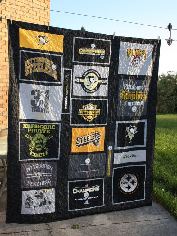 Free shipping large twin t shirt quilt pittsburgh sports for Custom t shirt printing pittsburgh