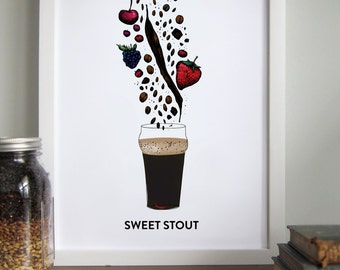 Craft Beer Gift, Stout with Glass, Bar Art, Brewery Art / 12x16 Print