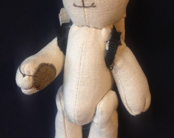 Blank Canvas Hemp Bear Craft Paint Project Good Vibes Hinge Arm and Leg Bear with a Backpack