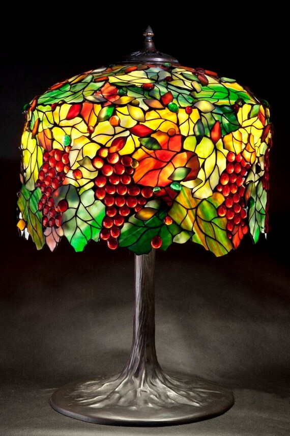 Tiffany Grape. Stained glass lamp. Unusual Tiffany lamp pattern. Unique Tiffany lamp. Glass jewels lamps. Autumn leaves lampshade.