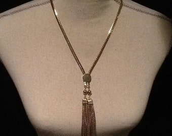 GOLD TONE TASSEL Slide Necklace