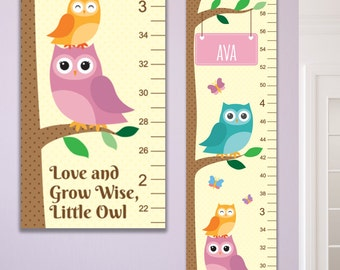 6 Foot Owl Canvas Growth Chart, Owl Nursery Decor, Owl Height Chart, Owl Baby Art, Personalized