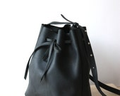 Black Leather Bucket Bag / Handbag / Shoulder Bag / Sling Bag - Minimalist, Modern, Classic, Handmade, Gifts for Her, Matte Leather