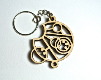 Allons-y Circular Gallifreyan Wooden Keychain