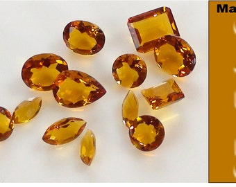 Madeira Citrine Faceted Gemstone Parcel of 20 carets (All Natural Gemstone Parcel)