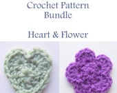Crochet PATTERN Bundle, Instant Download PDF, Hearts and Flowers Pattern, Appliques Pattern, Embellishment Pattern, Easy Crochet Pattern