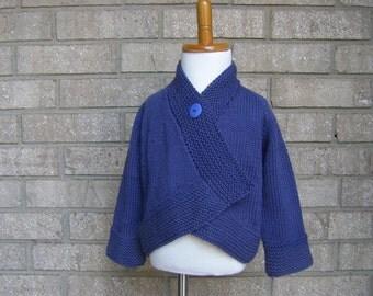 Cotton cardigan sweater jacket toddler blueberry blue SALE
