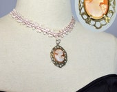 The Carved Cameo ~ Vintage Edwardian Sterling Silver Pendant & Choker Necklace