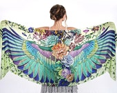 Wings scarf, bohemian bird feathers shawl, SUBLIME, hand painted, digital print, wrap sarong, perfect Valentine gifts.
