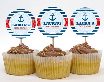 Personalized Anchor Nautical Baby Shower Cupcake Toppers – 2 Inch Circles – DIY Printable – Baby Boy (Digital File)
