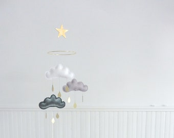 Grey and white - nursery - Mobile - Nursery - Scandinavian nursery - Nursery décor - Baby mobile - Monochrome kids room - Grey cloud