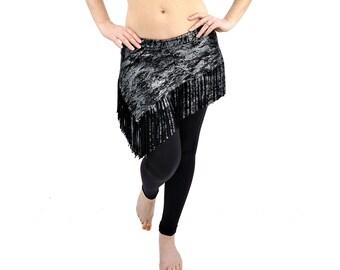 Liquid Fringe Mini Skirt - Silver Splash - Belly Dance