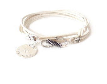 Round Leather Bracelet - Personalized Sterling Silver Tag - Off White - The Basics: 2mm Triple Wrap Six Strand Monogram, Crossed Arrows Year