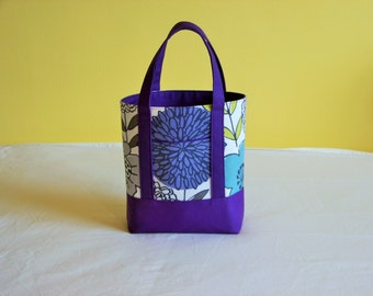 BIBLE TOTE Perfect Size for your Bible, Journal, Pens, Study guides. Purple Floral Print with Purple Canvas.
