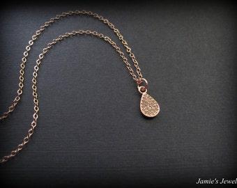 Tiny Rose Gold Necklace - Oval Rose Gold Necklace - Tiny Crystal Clear Rose Gold Necklace - Minimal Necklace  - Tiny Rose Gold Topaz
