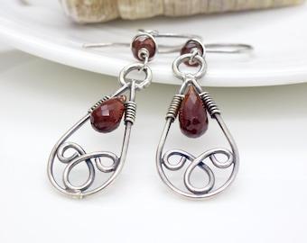 Garnet earrings in sterling silver, delicate dark red gemstone teardrop earrings, garnet wire wrapped handmade jewelry