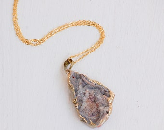 Silver AGATE Stone Pendant Druzy NECKLACE Bohemian Grey Quartz Gold Edged Crystal Stone Pendant Silver Stone Crystal