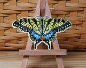 Yellow Swallowtail Cross Stitched and Beaded Ornament, Magnet, or Pin - Free U.S. Shipping