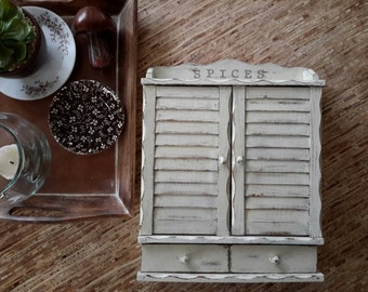 Vintage all wood Spice Rack Hand painted in Farmhouse White with spice bottles from Japan
