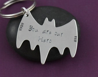 SALE - Gift for Dad - New Dad - Mens Gift - Birthday Gift - Halloween Bat - Daddy Gift - Personalized Dad - Batman Keychain - Superhero