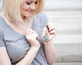 Mermaid Jewelry - Pocket Watch Necklace Pendant - Large Locket - Nautical Jewlery Gift - Long Bronze Chain