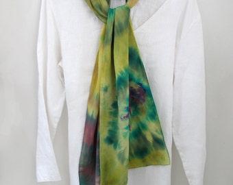 Crepe de Chine  Silk  Scarf, Hand-dyed Shibori technique, multi-colored, abstract,