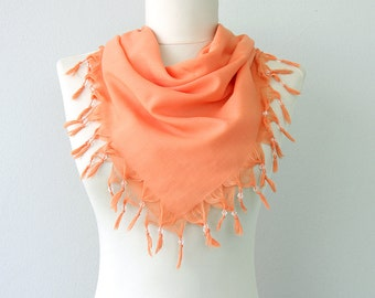 Peach scarf with beaded fringes Summer shawl Tassel wrap scarf Women scarves Summer fashion scarf with beads gift for her