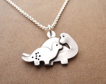 Mother and Baby Dinosaur Necklace, New Mom Necklace, Fine Silver, Sterling Silver Chain, Made To Order