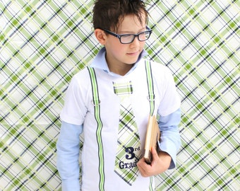Tie and Suspender, Back to School  Personalized Tie T-shirt Tee.  1st Day, Grade School, Photo Prop.  Fall Fashion, Navy Blue Green Stripes