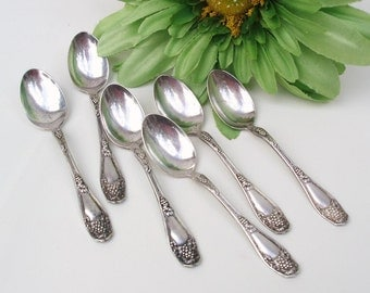 Vintage Demitasse Spoons, Coffee Spoons, Silver Plate Flatware, Isabella Grape Pattern, Set of 6 - As Is