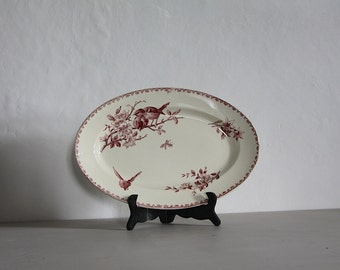 """Antique French Faience Red Transferware Favori Oval Platter Sarreguemines 14"""""""