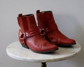 Red Boots Ankle - Women's 8 - Leather Straps Motorcycle Roper Flat - 1980s VINTAGE