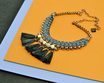 Black Tassel Necklace, Fan Necklace, Black and Blue, Crochet Necklace, Fabric Necklace, Hippie Necklace, Tribal Necklace