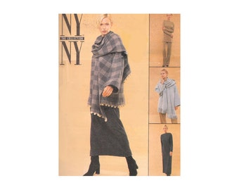 Uncut McCalls NY Pattern 9628 Dress/Jacket with Attached Scarf/ Pants and Top Size 12 Bust 34 1990s Separates Sewing Pattern