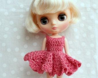 Crochet Middie Blythe Dress Pink.