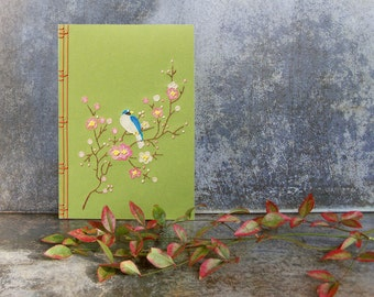 Spring Notebook. Embroidered Journal. Blooming Branch with Little Blue Bird. Botanical Notebook. Japanese Floral Journal. Spring Journal.