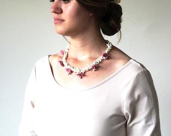 Multistrand Crochet Necklace, Dusty Pink Necklace, Statement Necklace, Bridal Collar, Oya Beaded Necklace, Crochet Jewelry, ReddApple