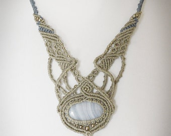 CLEARANCE OFFER - Delicate blue lace agate necklace with dangling flower branch. Helps communication. Romantic, dreamy