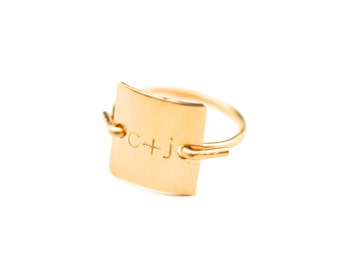 Personalized Custom Initial Plus Letter Monogram Stamped Round Square Disk Charm Signet Gold or Silver Ring Jewelry Christmas Gift