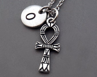 ANKH Necklace, Ankh charm, Ankh key of life Charm, Egyptian gods, Silver Ankh necklace, initial necklace, personalized, monogram