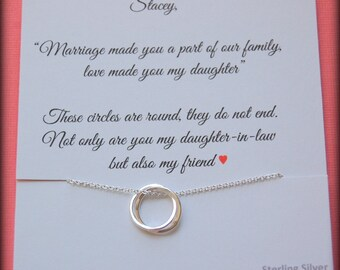 Gift for new daughter in law, From mother in law, daughter in law POEM, wedding gift, birthday gift, connecting circles necklace