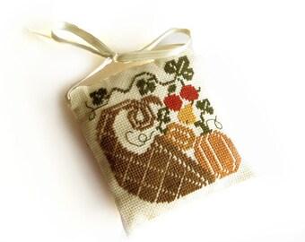 Thanksgiving decor pillow, cross stitch pillow, primitive cornucopia, autumn decor, primitive decor, light brown